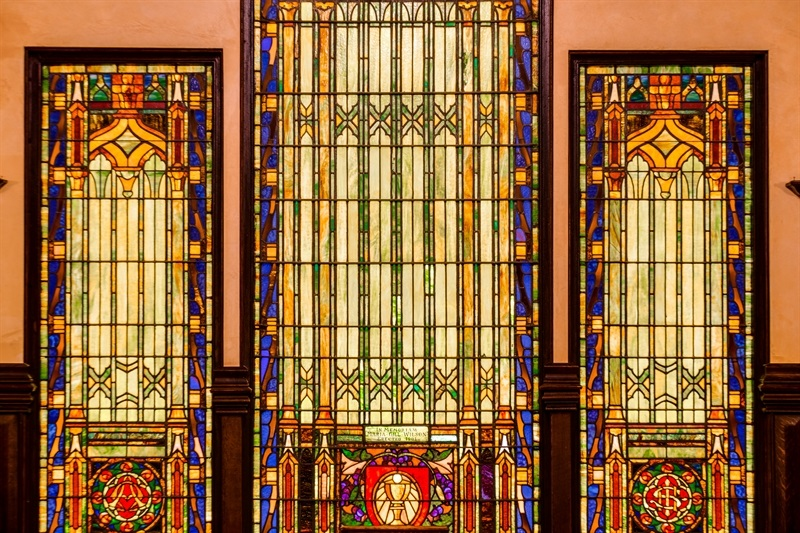 stained glass window at maria gill wilson wedding chapel