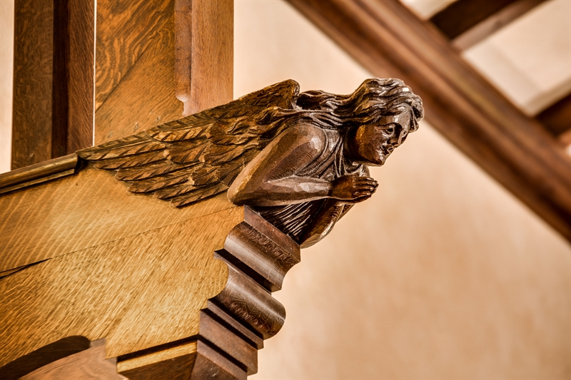 stunning wood banisters at maria gill wilson chapel in worcester ma