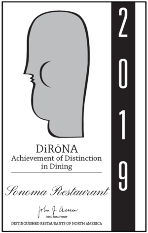 Sonoma 2019 DiRoNA Awarded Restaurant