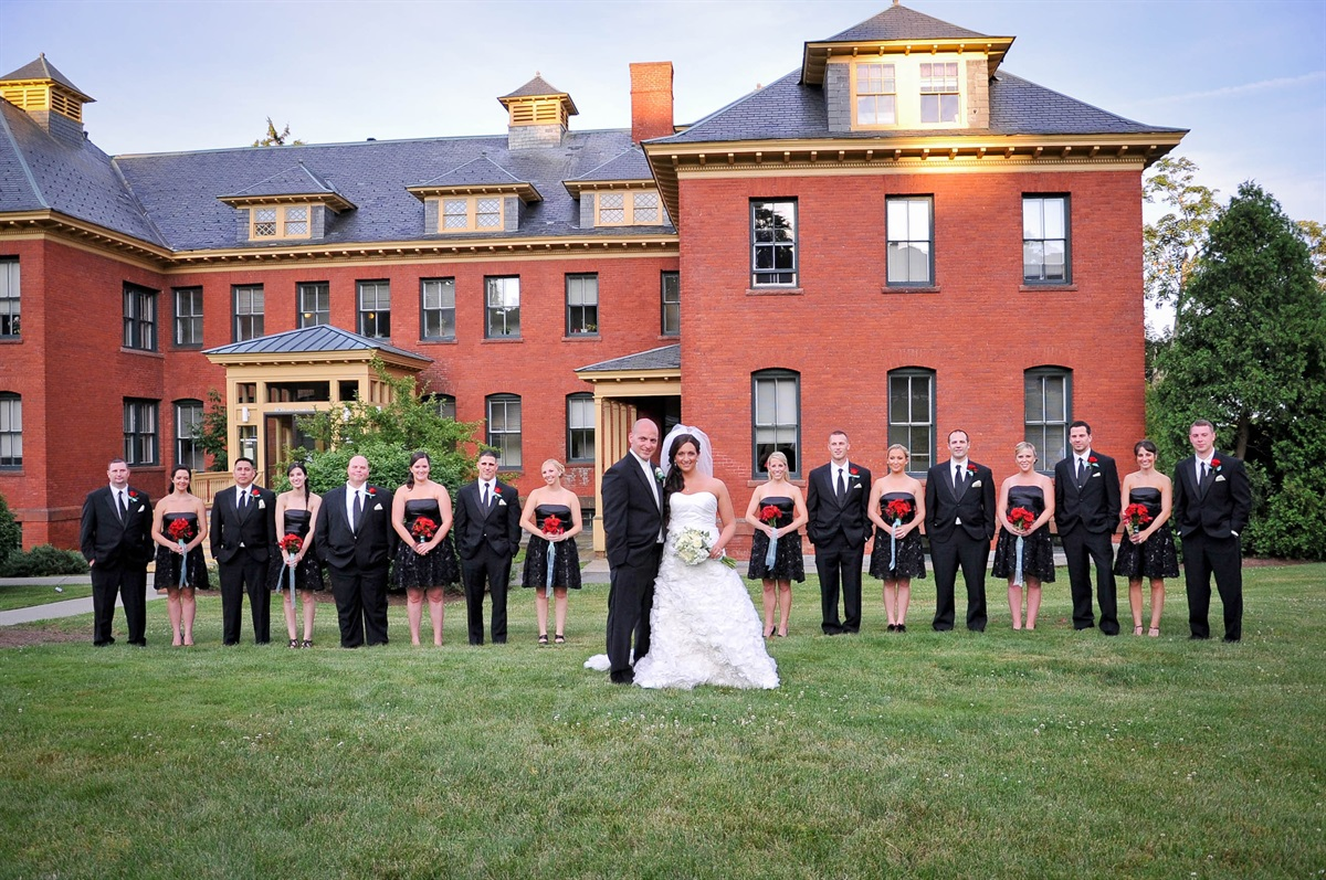 wedding party outside of beechwood hotel's wedding venue in worcester ma